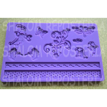 *molde Silicon Cenefas #7 Ramas Y Mariposas Isomalt Fondant*
