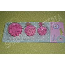 *kit 3 Cortadores Eyectores Flores Treboles Fondant*