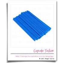 Palitos Plástico Paletas 15cm Cakepop Pop Azul #1472