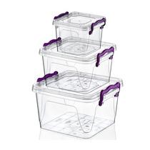 Juego De 3 Cajas Plasticas Cuadradas Con Tapa Ccoenvios
