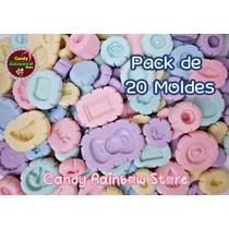 Pack 20 Moldes Flexibles Silicón - Arcilla Kawaii Porcelana
