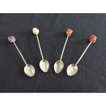 Antiguas Cucharitas De Metal Plateado Con Piedras