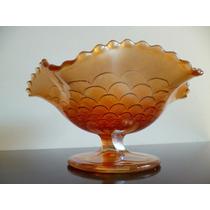 Antiguo Dulcero De Vidrio Carnival Glass Anaranjado