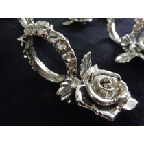 Jgo Antiguo De 12 Hermosos Servilleteros De Metal Con Rosas