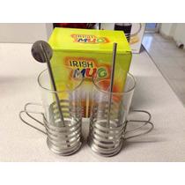 Tazas Para Cafe Juego De 2 Cristal Y Acero Inoxididable E4f