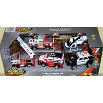 Set De 5 Minivehiculos De Emergencia Bomberos Ambulancia Etc