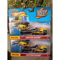 Hotwheels, Transportes, Trailer Con Helicoptero. Esc 1:64