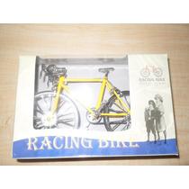 Bicicleta De Carreras Metal Troquelado Escala 1:10 Amarilla