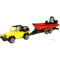 Siku Jeep C/remolque Y Lancha 1/64 Diecast Metal / Hotwheels