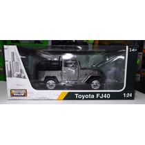 1:24 Toyota Fj40 Convertible Plata Motor Max C Caja
