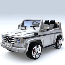 Carrito Bateria Mercedes Benz G55 Plateado Luces Sonido Mp3