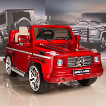 Carrito Bateria Mercedes Benz G55 Rojo Luces Sonido Mp3