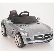 Carrito Electrico Mercedes Benz Sls Gris Bateria Luces Mp3