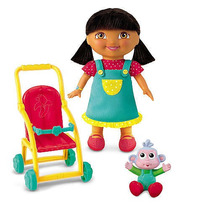Fisher-price Dora Y Botas Cochecito De Bebé Playset