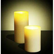 Vela Cera Luz Led Cálida Parpadeante 10 Y 20 Cm Decoración
