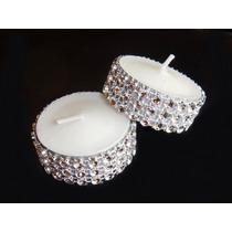 Velas Decorada Brillantes Diamantes Tea Light Blanca 12 Pzas