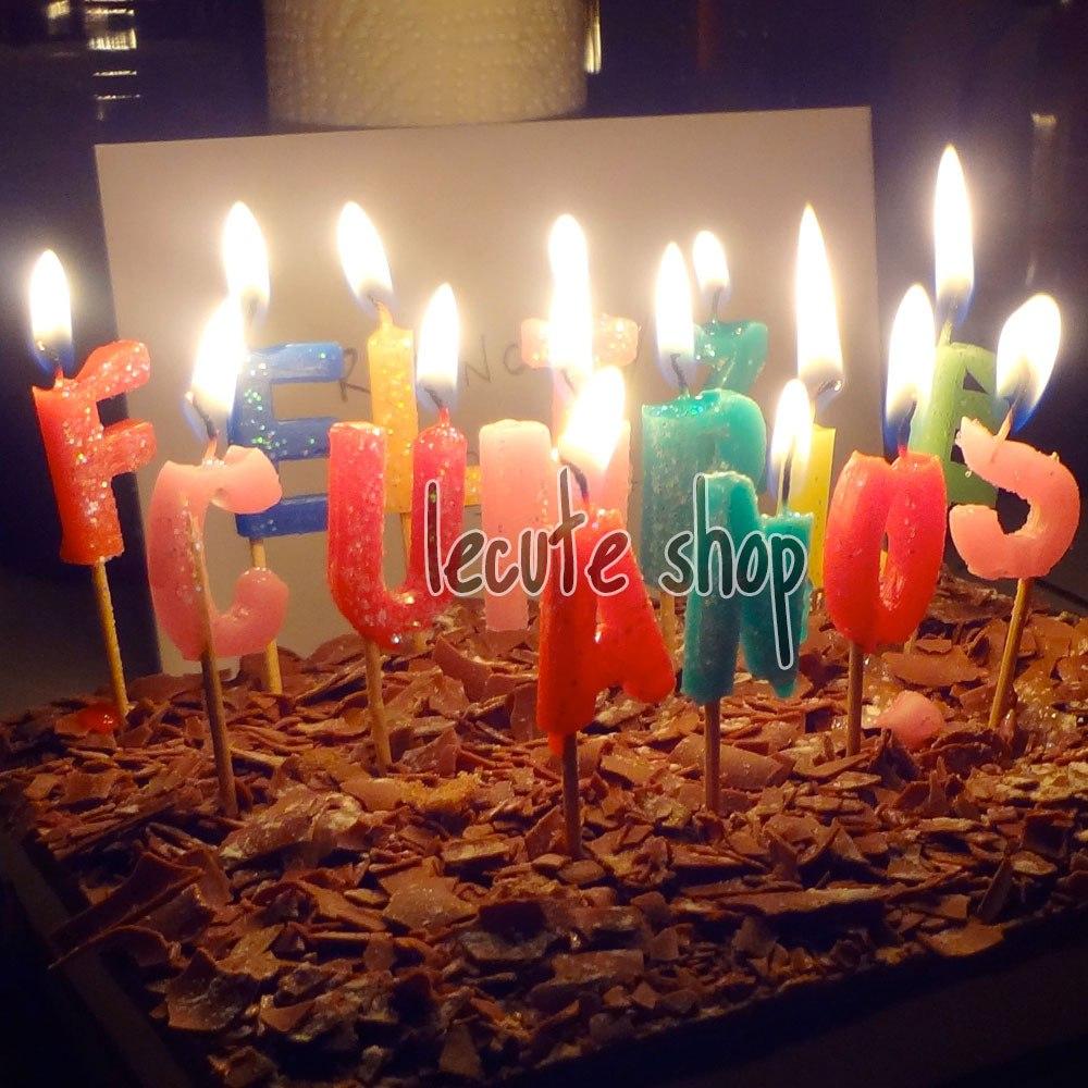 Velas feliz cumplea os pastel fiesta evento letras regalo for Formas de letras para cumpleanos