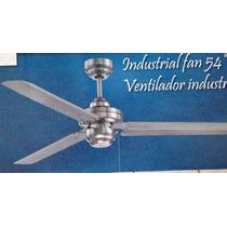 Ventilador De Techo Industrial 54 Acabado Nikel Cepillado