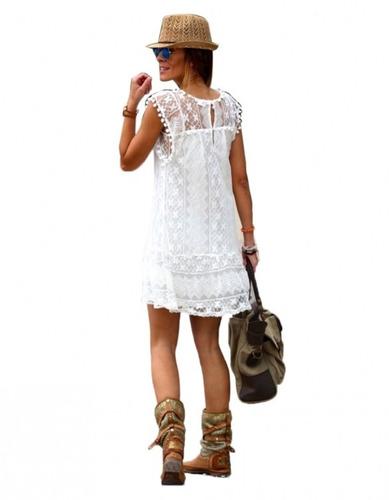Vestidos De Baño Sol Blanco:Vestido Encaje Casual Blanco Hermoso Superfemenino – $ 39900 en
