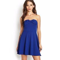 Vestido Azul Strapple Forever 21 Corto Casual Fiesta Coctel