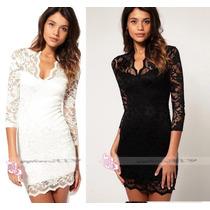 Sexy Y Hermoso Vestido Corto De Encaje En Color Blanco