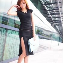 Vestido Casual Largo Elegante Estilo Japonés Moda Sexy 273