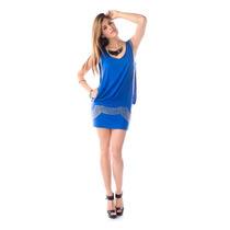 Fresco Y Casual Vestido Corto Sin Mangas, Azul Rey