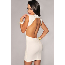 Moda Sexy Mini Vestido Fiesta Blanco Espalda Descubierta