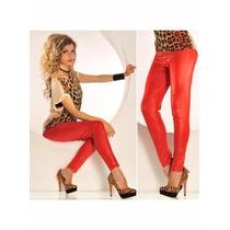 Sexy Moda Leggins Mallas Rojo Brilloso Pantalon Legin
