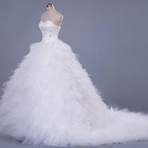 Vestido De Novia Largo Princesa Satin Tul Elegante Strapless