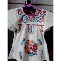 Vestidos/bata Niña Bordado A Mano Popelina Chiapas Artesania