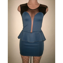 Moda Sexy Mini Vestido Azul Transparencias Frente Y Espalda