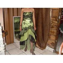 Vestido De Fiesta Gala Verde Negro T 5 Corte Flamenco Sirena