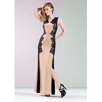 * Espectacular Vestido Largo De Fiesta Detalles En Encaje