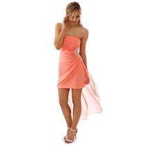 Vestido De Noche Fiusha Hermoso Talla Chica (s) Envio Gratis