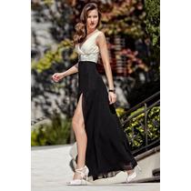 Vestido De Fiesta Largo Con Abertura En Pierna Negro/ Blanco