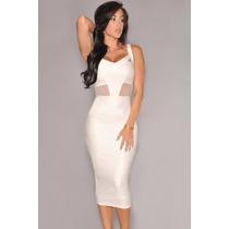 Moda Sexy Vestido De Vinyl Blanco Tirantes Y Transparencias