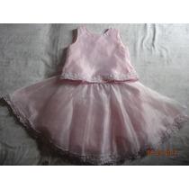 Vestido P/niña Talla 10 Rosa N Organza C/fondo Crinolina