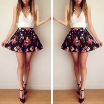 Vestido Mini Corto Flores Floreado Moda Japonesa Asiatica
