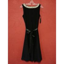 Vestido Formal Negro Listón Cintura Vintage Coctel Descuento
