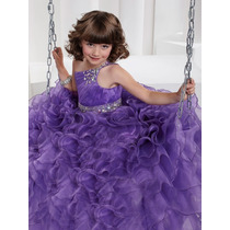 Hermoso Vestido De Niña Organza Con Cristales Alta Costura