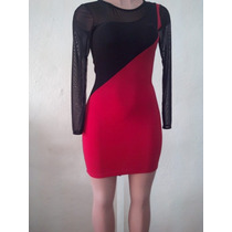 Moda Sexy Mini Vestido Fiesta Rojo Mangas Y Transparencias