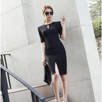 Vestido Formal Elegante Trabajo Corto Con Manga 2231