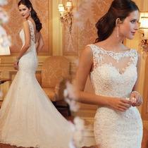 Vestido De Novia Largo Sirena De Piedras Encaje Elegante
