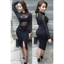 Moda Fiesta Sexy Vestido Negro Blusa Transparente Con Top