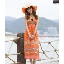 Vestido Naranja Moda Asiatica Entrega Inmediata