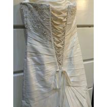 Elegante Vestido De Novia Color Blanco Con Cristal Swarovsky