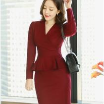 Vestido Formal Trabajo Elegante Corto Manga Larga 2493