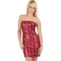 Moda Fiesta Sexy Mini Vestido Rojo Brilloso Metal Strapless