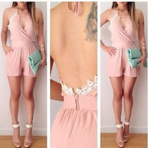 Jumpsuit Palazzo Dress Rosa Pastel Encaje Short Escote